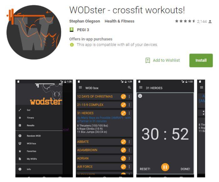 WODster es una de las aplicaciones más valoradas en CrossFit