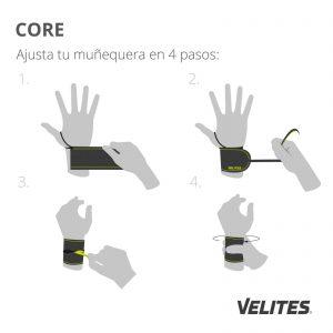 Infografía de cómo ajustar la muñequera para CrossFit en cuatro pasos